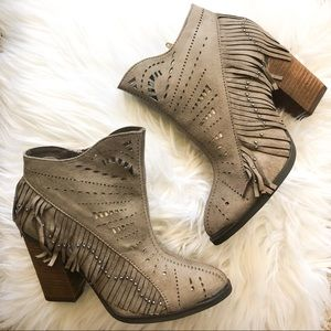 NWT TAUPE FRINGE BOOTIES